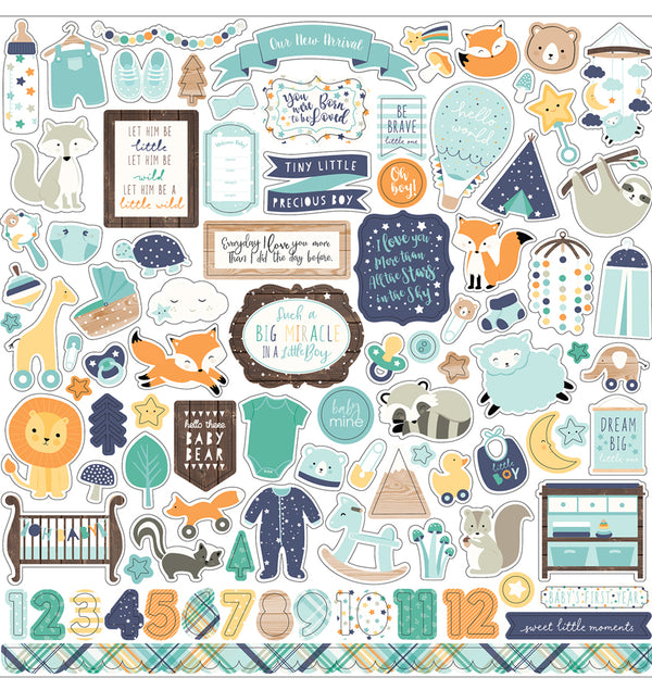 Echo Park Hello Baby Boy Collection Kit, 12x12 Element Sticker Sheet