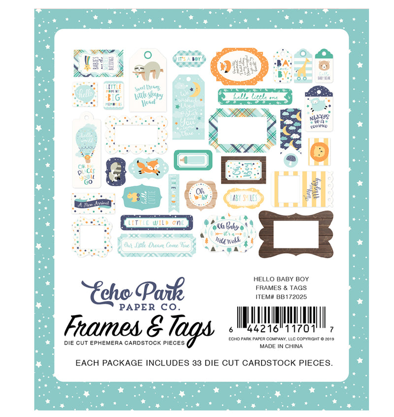 Echo Park Hello Baby Boy Frames & Tags 33pcs Designs Back