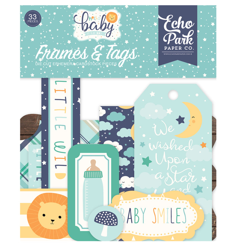 Echo Park Hello Baby Boy Frames & Tags 33pcs Front