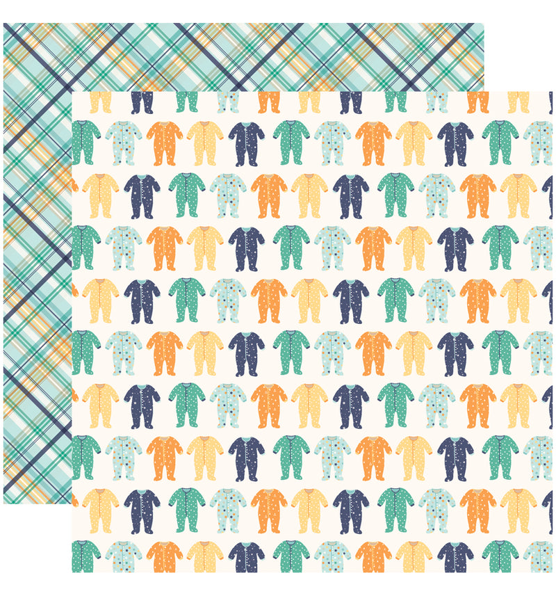 Echo Park Hello Baby Boy Collection Kit, 12x12 Sleepers Cardstock Paper Design