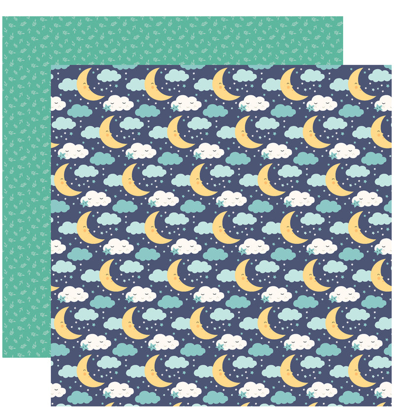 Echo Park Hello Baby Boy Collection Kit, 12x12 Starry Night Cardstock Paper Design