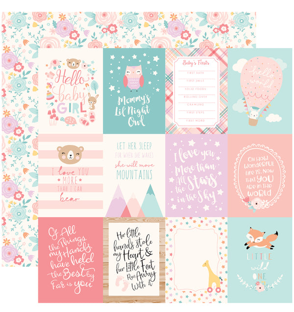 Echo Park Hello Baby Girl 6 x 6 Paper Pad, 3x4 Journaling Cards Paper Design