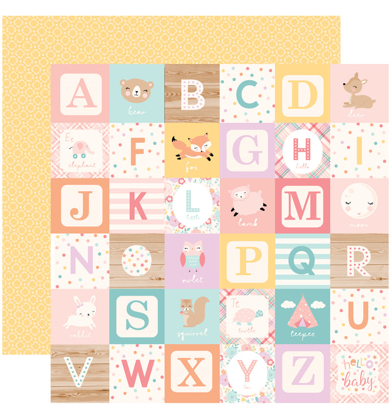 Echo Park Hello Baby Girl 6 x 6 Paper Pad, Alphabet Blocks Paper Design