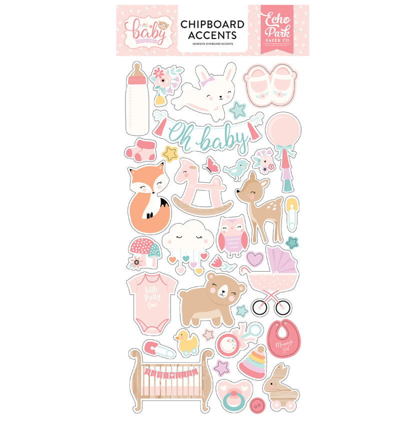 Hello Baby Girl Chipboard Accents Stickers