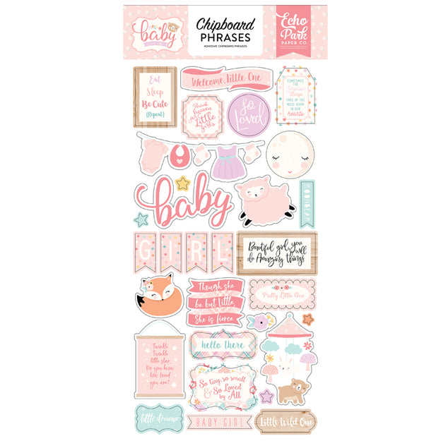 Echo Park Hello Baby Girl Chipboard Phrases Stickers