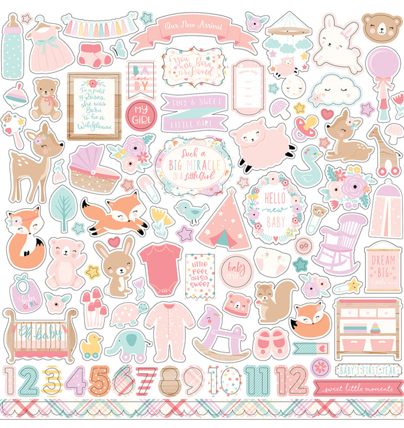 Echo Park Hello Baby Girl Collection Kit, 12x12 Element Sticker Sheet