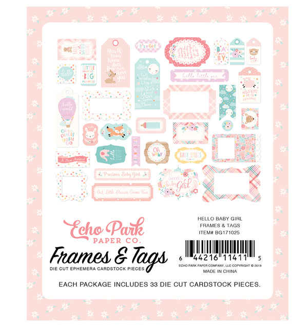 Echo Park Hello Baby Girl Frames & Tags 33pcs Back Designs