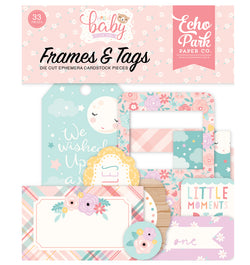Echo Park Hello Baby Girl Frames & Tags 33pcs Front