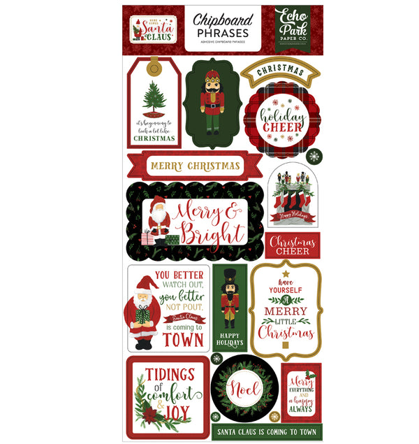 Here Comes Santa Claus Chipboard Phrases Stickers