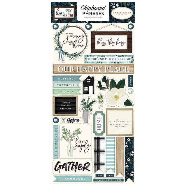Home Again Chipboard Phrases Stickers