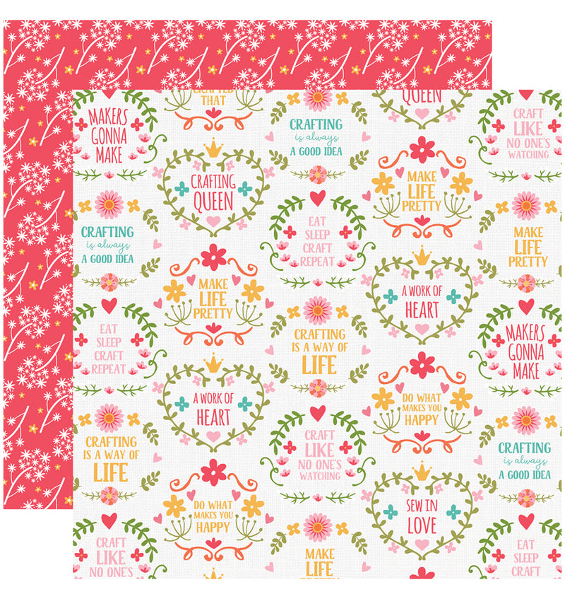 Echo Park I Heart Crafting Collection Kit, Makers Goona Make Paper Design