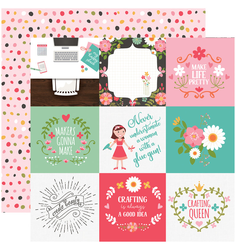 Echo Park I Heart Crafting Collection Kit, 4x4 Journaling Cards Design