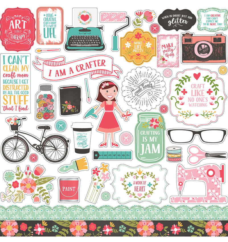Echo Park I Heart Crafting Collection Kit, Element Sticker Sheet