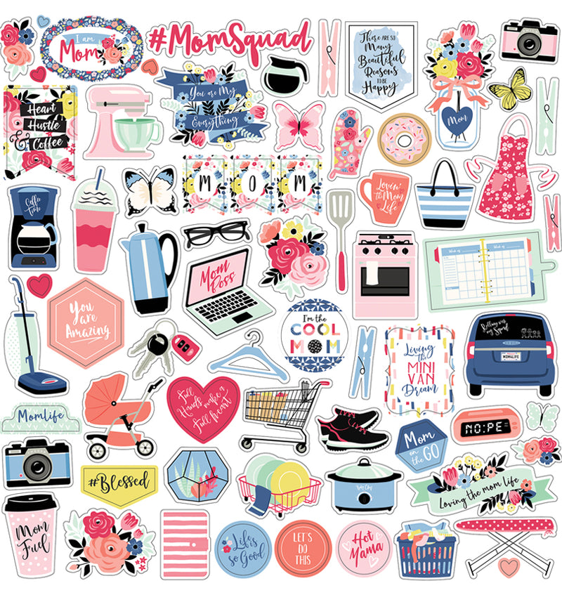 Echo Park I am Mom Collection Kit, 12x12 Element Sticker Sheet