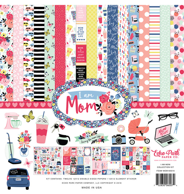 Echo Park I am Mom Collection Kit, 12x12 Paper & Sticker Sheet
