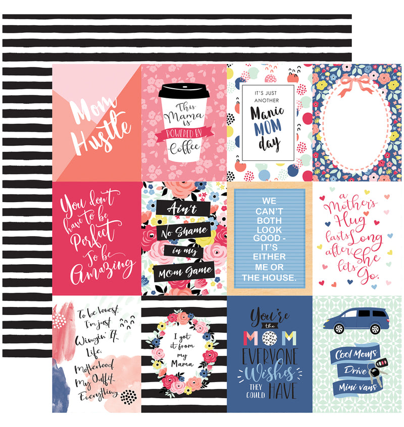 Echo Park I am Mom Collection Kit, 3x4 Journaling Cards 12x12 Paper