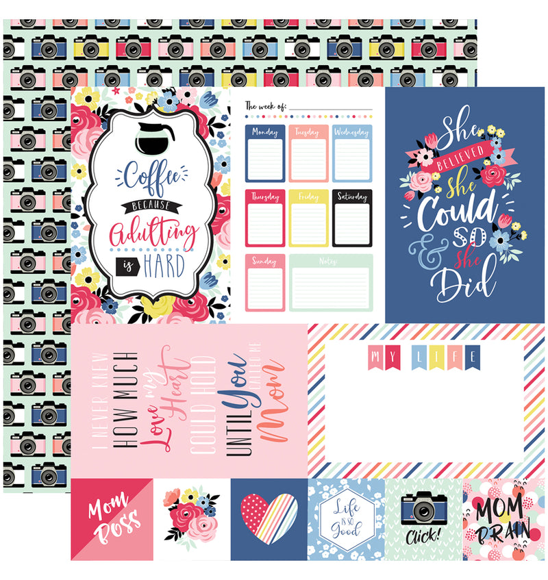 Echo Park I am Mom Collection Kit, Multi-Journaling Cards 12x12 Paper