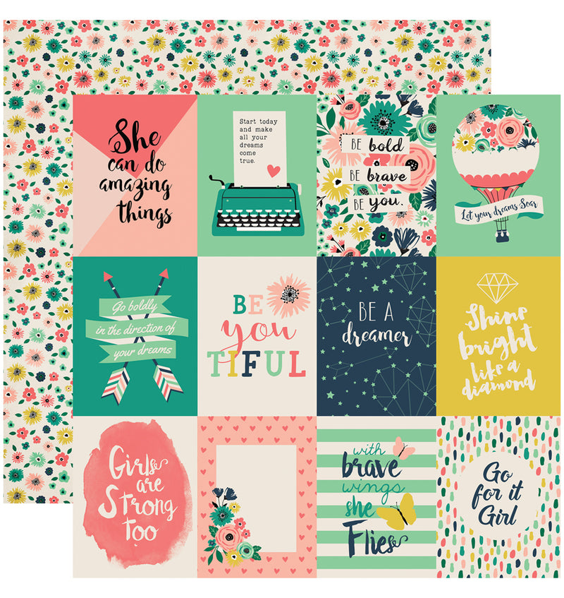 "Echo Park Paper Just Be You Collection Kit, 3"" x 4"" Journaling Cards Double-Sided Cardstock Patterned Paper"