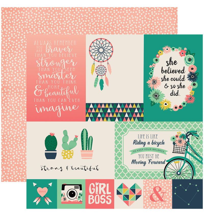 "Echo Park Paper Just Be You Collection Kit, 4"" x 6"" Journaling Cards Double-Sided Cardstock Patterned Paper"