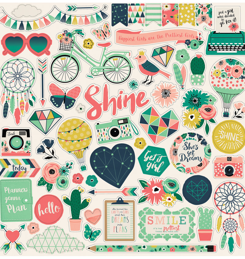 Echo Park Paper Just Be You Collection Kit Element Sticker Sheet