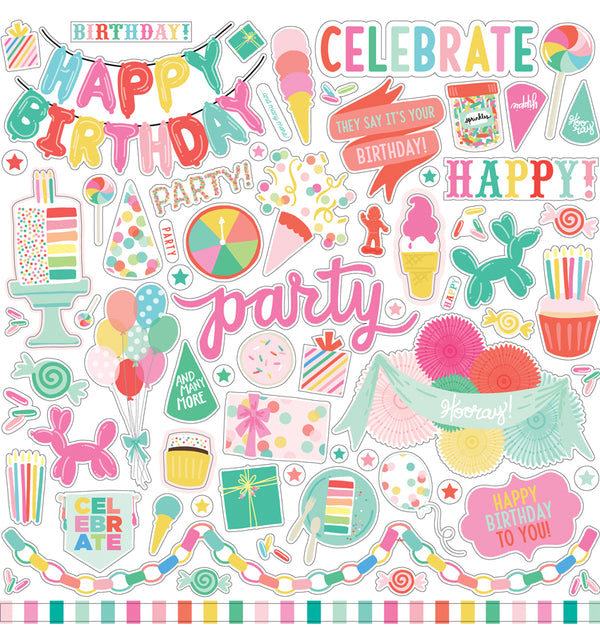 Echo Park Paper, Let's Party Collection Kit, Element Sticker Sheet