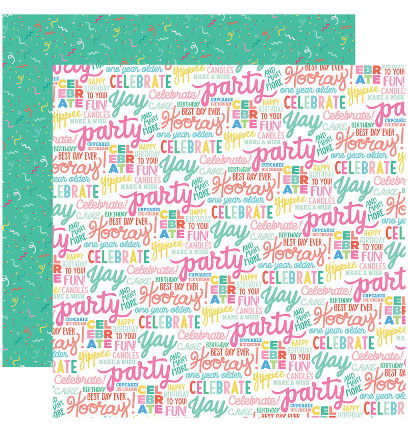 Echo Park Paper Let's Party 6 x 6 Paper Pad, Hooray Words Paper Design