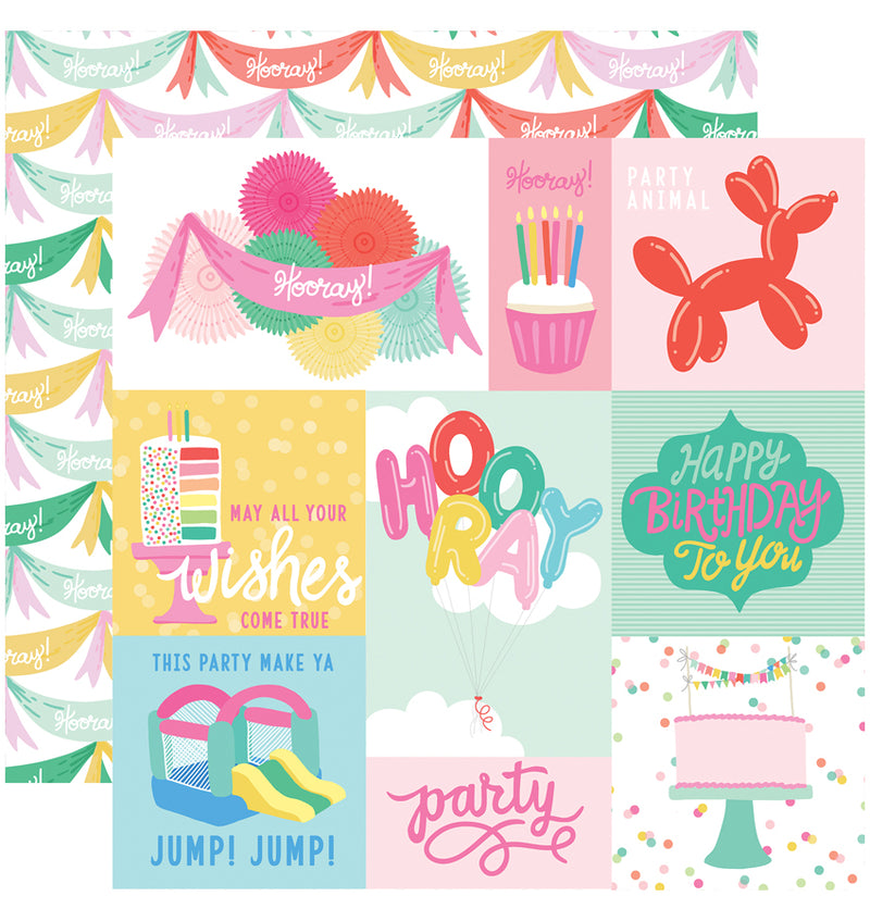 Echo Park Paper Let's Party 6 x 6 Paper Pad, Journaling Cards Paper Design