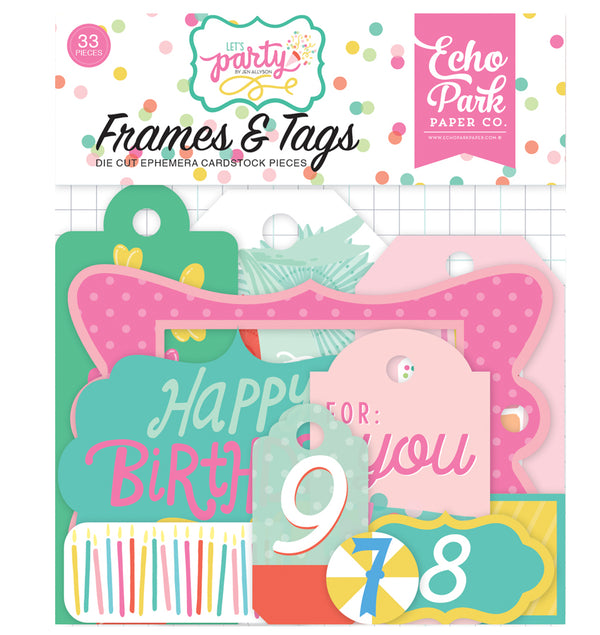 Echo Park Let's Party Frames and Tags Ephemera 33pcs
