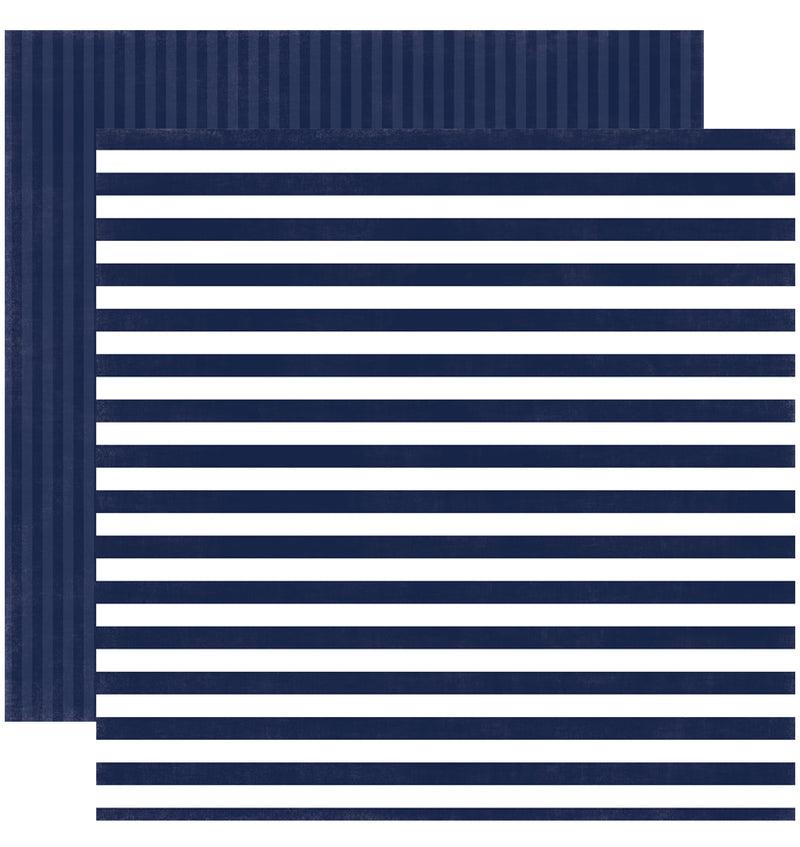 Echo Park Paper Little Boy Dots and Stripes 6 x 6 Paper Pad, Blue Denim Stripe Double-Sided Paper Design
