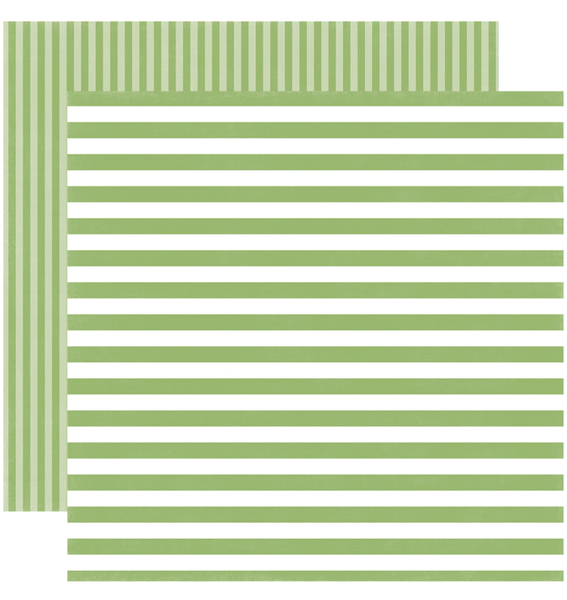 Echo Park Paper Little Girl Dots and Stripes 6 x 6 Paper Pad, Garden Green Stripes Double-Sided Paper Design