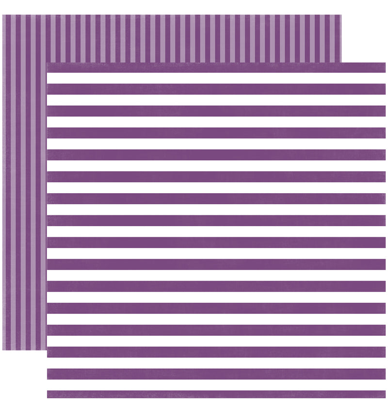 Echo Park Paper Little Girl Dots and Stripes 6 x 6 Paper Pad, Grape Jelly Stripes Double-Sided Paper Design