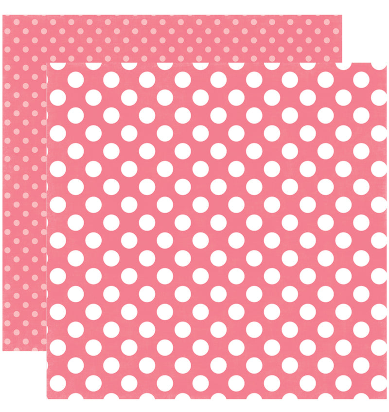 Echo Park Paper Little Girl Dots and Stripes 6 x 6 Paper Pad, Lipstick Dots Double-Sided Paper Design