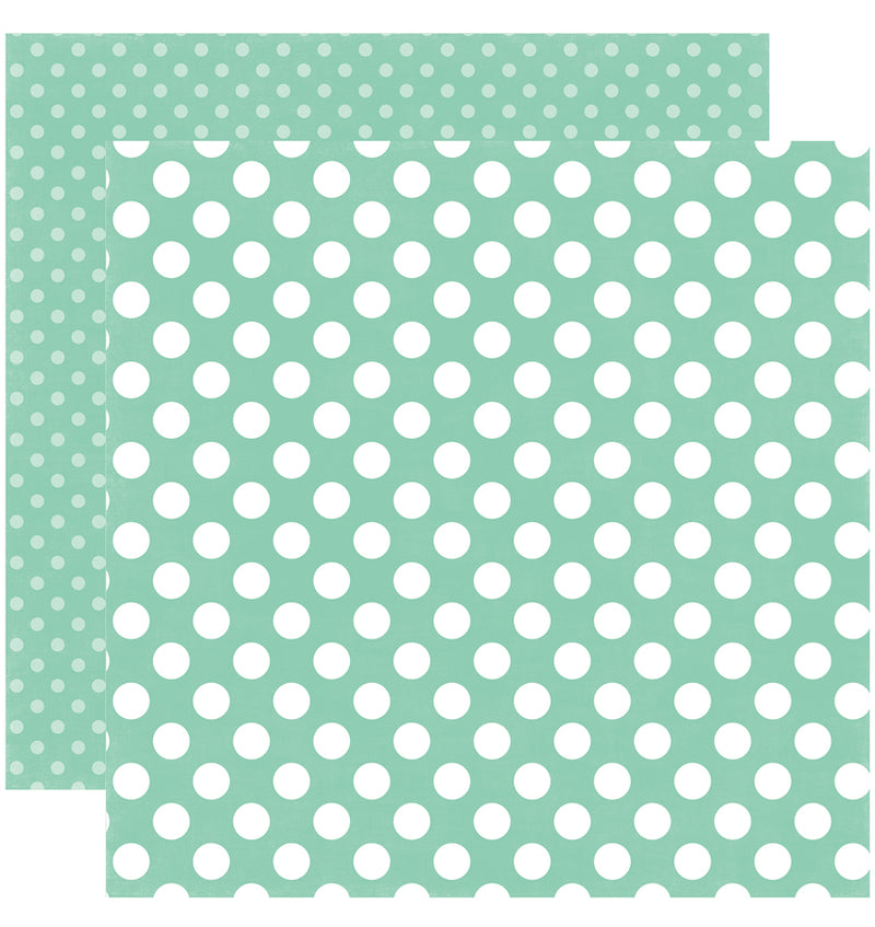 Echo Park Paper Little Girl Dots and Stripes 6 x 6 Paper Pad, Sweet Mint Dots Double-Sided Paper Design