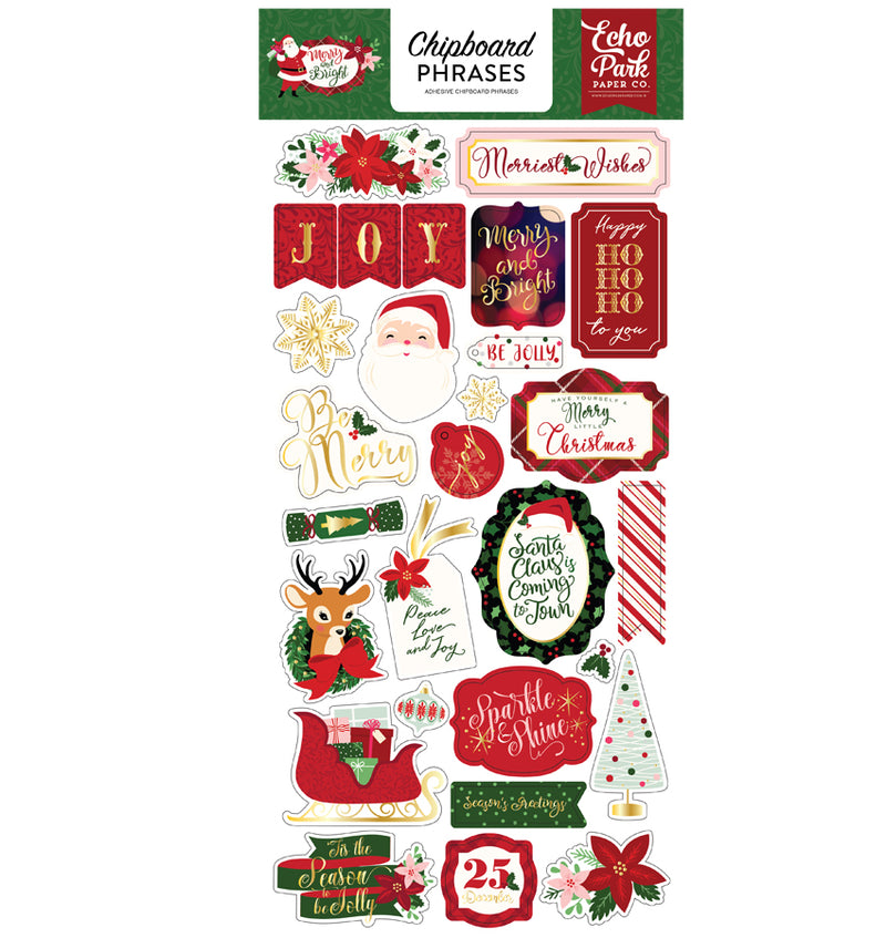Merry & Bright Chipboard Phrases Stickers