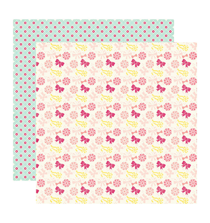 Echo Park Paper Rows of Bows 12 x 12 Double Sided Patterned Cardstock Paper
