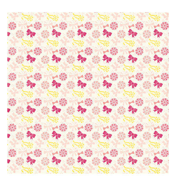 Echo Park Paper Rows of Bows 12 x 12 Double Sided Patterned Cardstock Paper Front