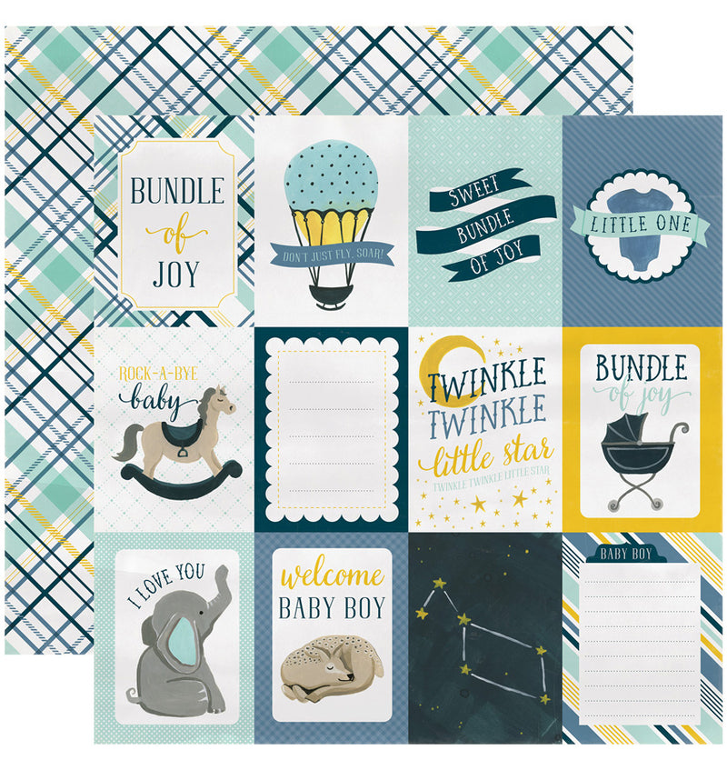 "Echo Park Paper Rock-A-Bye Baby Boy Collection Kit, 3"" x 4"" Journaling Cards Double-Sided Cardstock Patterned Paper"