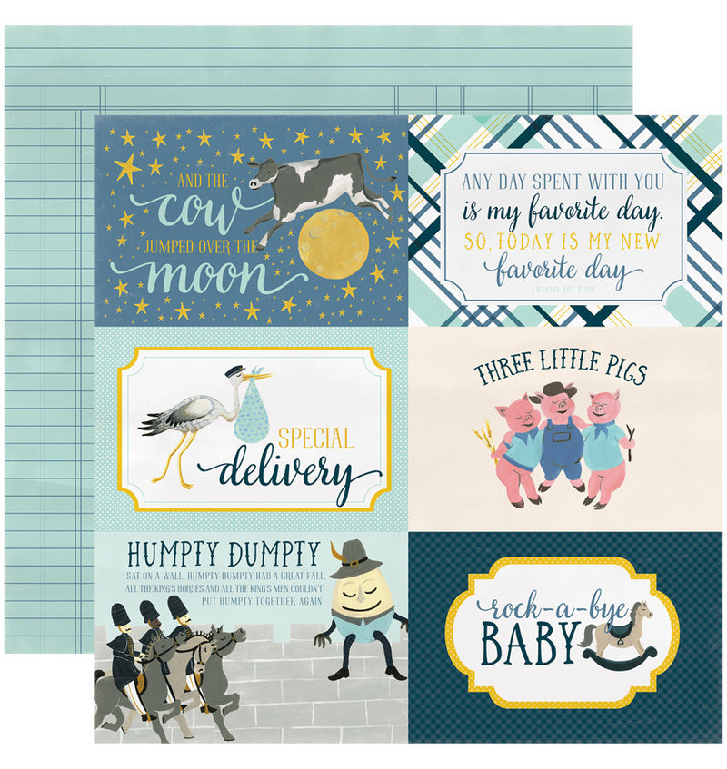 "Echo Park Paper Rock-A-Bye Baby Boy Collection Kit, 4"" x 6"" Journaling Cards Double-Sided Cardstock Patterned Paper"