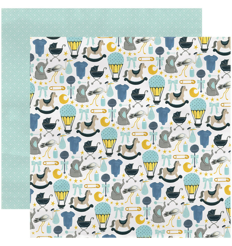 "Echo Park Paper Rock-A-Bye Baby Boy Collection Kit, 12"" x 12"" Bundle of Joy Double-Sided Cardstock Patterned Paper"
