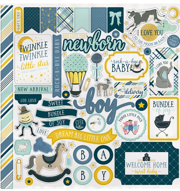 Echo Park Paper Rock-A-Bye Baby Boy Collection Kit, Element Sticker Sheet
