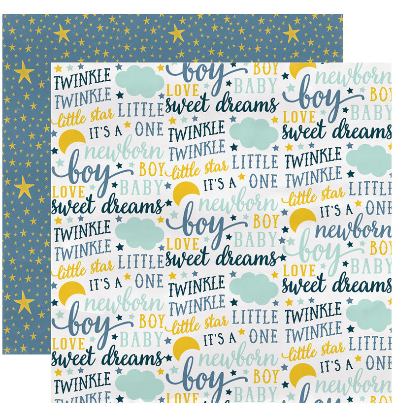 "Echo Park Paper Rock-A-Bye Baby Boy Collection Kit, 12"" x 12"" Sweet Dreams Double-Sided Cardstock Patterned Paper"