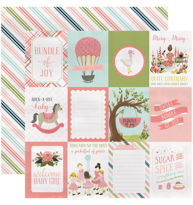"Echo Park Paper Rock-A-Bye Baby Girl Collection Kit, 3"" x 4"" Journaling Cards Double-Sided Cardstock Patterned Paper"