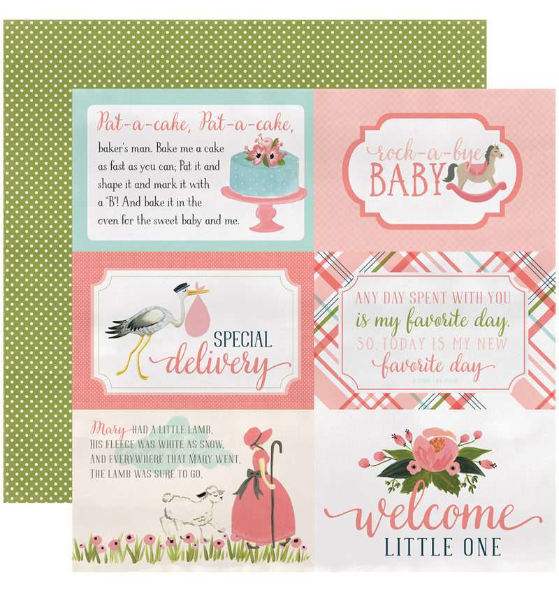 "Echo Park Paper Rock-A-Bye Baby Girl Collection Kit, 4"" x 6"" Journaling Cards Double-Sided Cardstock Patterned Paper"