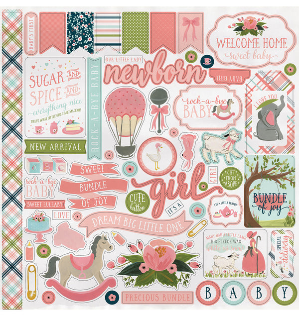 Echo Park Paper Rock-A-Bye Baby Girl Collection Kit, Element Sticker Sheet