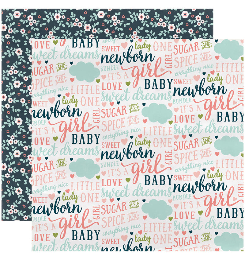 "Echo Park Paper Rock-A-Bye Baby Girl Collection Kit, 12"" x 12"" Everything Nice Double-Sided Cardstock Patterned Paper"