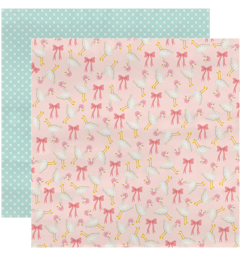 "Echo Park Paper Rock-A-Bye Baby Girl Collection Kit, 12"" x 12"" Mother Goose and Bows Double-Sided Cardstock Patterned Paper"