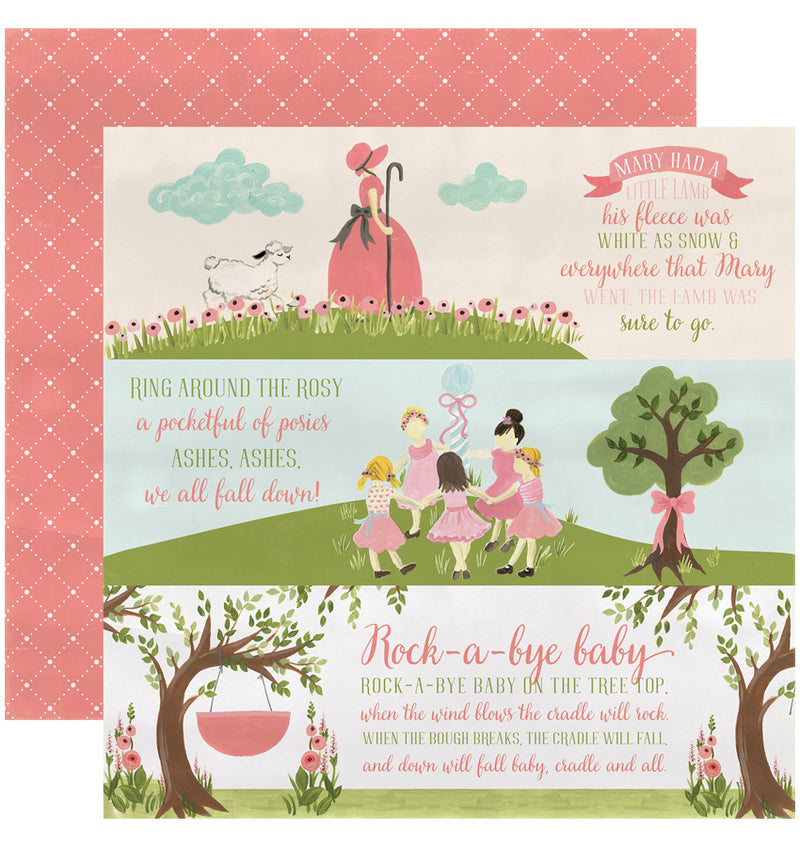 "Echo Park Paper Rock-A-Bye Baby Girl Collection Kit, 12"" x 12"" Girl Nursery Rhymes Double-Sided Cardstock Patterned Paper"