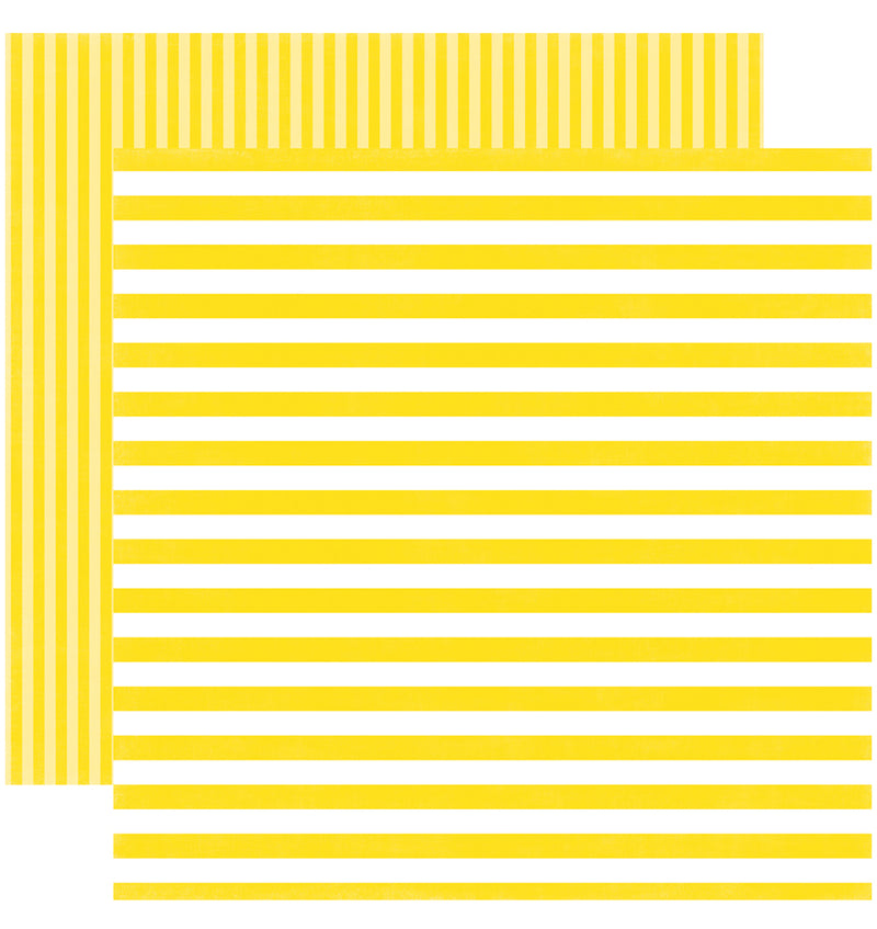 Echo Park Paper Spring Dots and Stripes 6 x 6 Paper Pad, Lemon Passion Stripes Double-Sided Patterned Paper