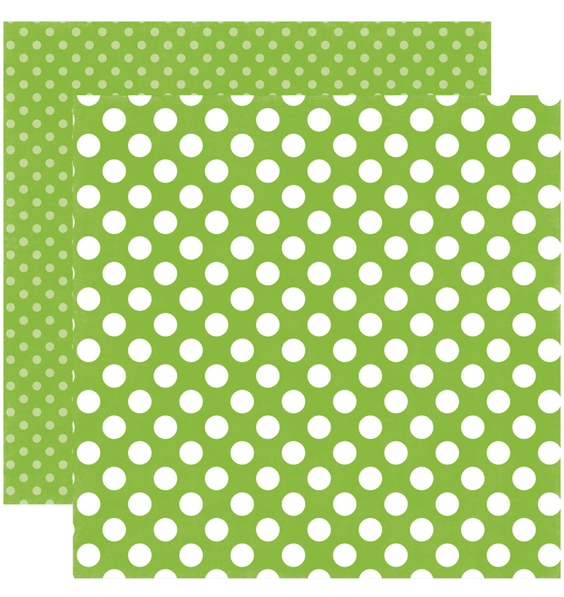 Echo Park Paper Spring Dots and Stripes 6 x 6 Paper Pad, Lime Twist Dots Double-Sided Patterned Paper