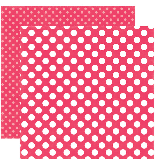 Echo Park Paper Spring Dots and Stripes 6 x 6 Paper Pad, Melon Kiss Dots Double-Sided Patterned Paper